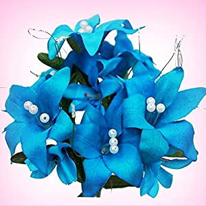 Inna-Wholesale Art Crafts New 70 Turquoise Tiger Lily Silk Decorating Flowers Bouquets Centerpieces - Perfect for Any Wedding, Special Occasion or Home Office D?cor 107