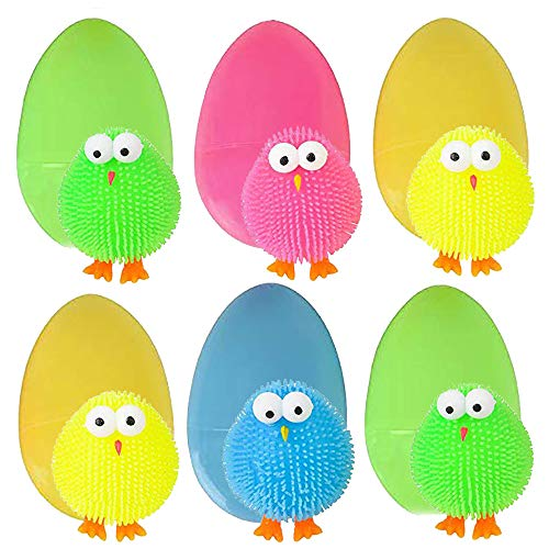 Puffer Chick Filled Easter Eggs - Pack of 6 3-inch Colored Puffer Chick Inside in 4 Colors - Great Giveaways, Easter Treasure Chest Filler, Prize, Educational Toy]()