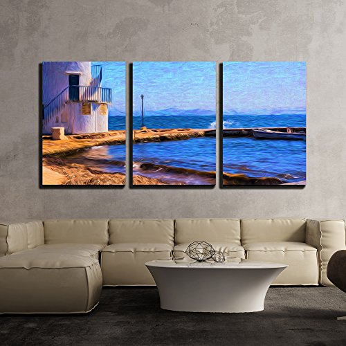 wall26 - 3 Piece Canvas Wall Art - Artistic View of The Traditional Fishing Village of Empoureio at Milos Island in Greece - Modern Home Decor Stretched and Framed Ready to Hang - 16