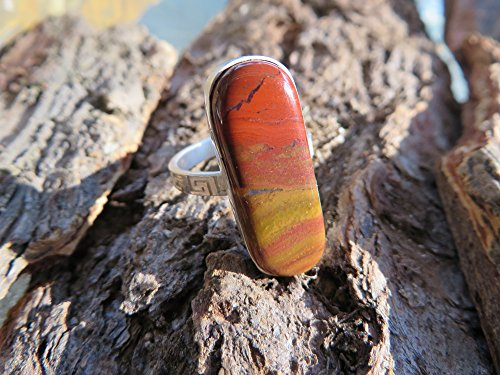 Jasper Cocktail Ring - Stone ring, silver,red and yellow jasper, size 8 1/2 one of a kind, handmade, boho chic, statement ring, cocktail ring, metalsmith, gemstone