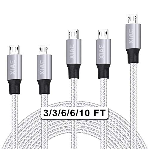 Micro USB Cable,XIAE 5Pack (3/3/6/6/10FT) Nylon Braided Fast Charging Cable Aluminum Housing USB Charger Android Cable…