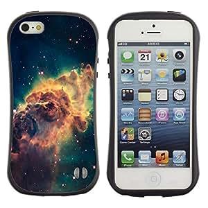 Fuerte Suave TPU GEL Caso Carcasa de Protección Funda para Apple Iphone 5 / 5S / Business Style Galaxy Space Dust Gas Stars Cluster Yellow
