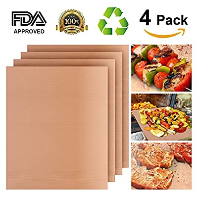 Grill Mat Set of 4, Heavy Duty 100% Non-stick BBQ Grill Mat, Durability reused and easy to clean, FDA-Approved,Barbecue with Works on Gas ,Charcoal ,Electric Grill and More Oven -16 x 13 Inch(Copper)
