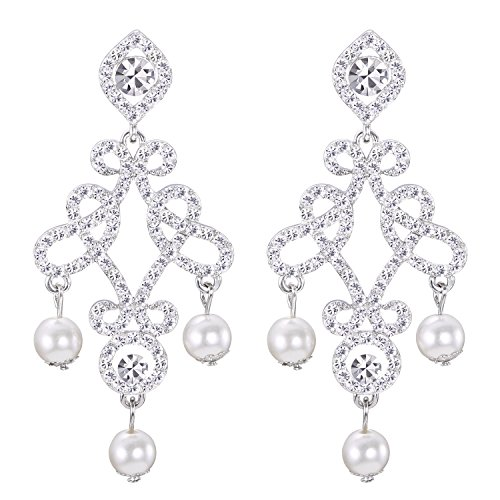 LILIE&WHITE Austrian Crystal Rhinestone Chandelier Dangle Earrings Bridal with Imitation Pearl Jewelry (White Chandelier Pearl)