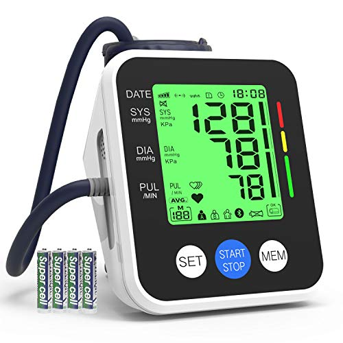"""Blood Pressure Monitor, IVKEY Upper Arm Blood Pressure Monitor, Digital Automatic Measure Blood Pressure and Heart Rate Pulse with Wide-Range Cuff for Home use, 3.5"""" Three-Color Backlight Display"""