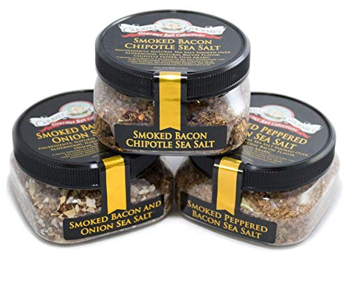 Smoked Bacon Sea Salt 3-Pack: Smoked Bacon Chipotle, Smoked Bacon and Onion, Smoked Peppered Bacon - All-Natural Sea Salts Slowly Smoked Over Alderwood - No Gluten, No MSG, Non-GMO (12 total oz.)