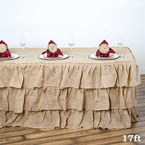 3 Tier Rustic Elegant Ruffled Burlap Table Skirt - 17 Ft