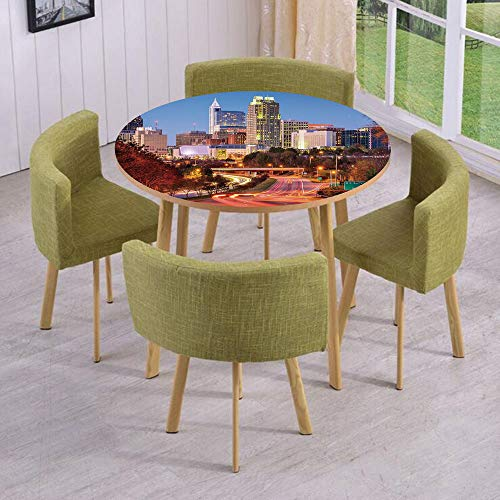 (Round Table/Wall/Floor Decal Strikers,Removable,Raleigh North Carolina USA Express Way Business District Building Skyscrapers Decorative,for Living Room,Kitchens,Office Decoration)