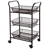 SONGMICS Bathroom Trolley Rolling Kitchen Storage Cart on Wheels 3-tier Shelves Bronze UBSC72A