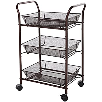 Amazon.com : SONGMICS 3 Tiers Storage Cart Utility Trolley for ...