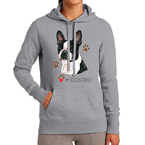 Adult's I love my Boston Terrier Dog Sport Grey Hoodie (Medium)