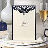 Wishmade 50x Elegant Laser Cut Wedding Invitations Cards with Rhinestone and Hollow Favors Paper Cardstock for Engagement Birthday Baby Shower Bridal Shower Anniversary(set of 50pcs) CM502