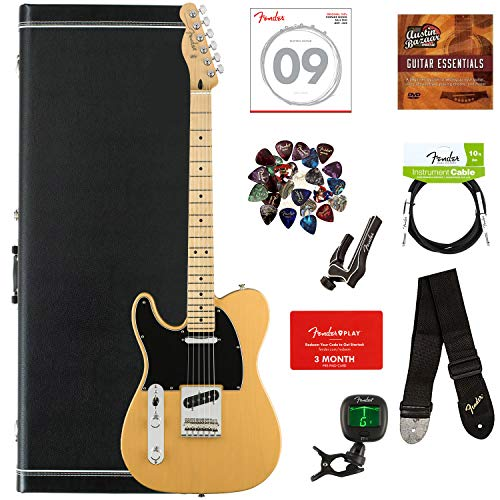 Fender Player Telecaster, Maple, Left Handed - Butterscotch Blonde Bundle with Case, Cable, Tuner, Strap, Strings, Picks, Capo, Fender Play Online Lessons, and Austin Bazaar Instructional DVD