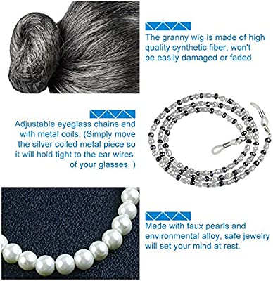 Grey1 Haichen Old Lady Costume Grandmother Cosplay Accessories Set Granny Wig Grey Wig Costume Glasses Artificial Pearl Necklace Fancy Dress Accessories