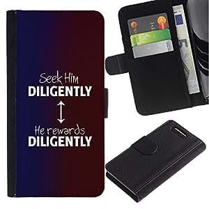 Be Good Phone Accessory // Caso del tirón Billetera de Cuero Titular de la tarjeta Carcasa Funda de Protección para Sony Xperia Z1 Compact D5503 // BIBLE Seek Him Diligently