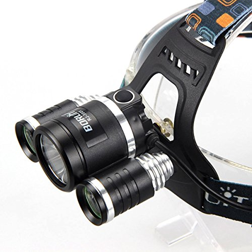 Excelling Headlight Super Output Bright Head Lamp Wall and USB Charger Flashlight Colors Black