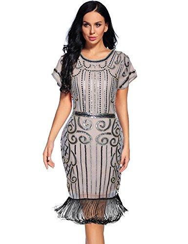 Flapper Girl Women's 1920s Vintage Inspired Sequin Embellished Fringe Gatsby Flapper Dress (L, Beige -