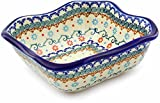 Polish Pottery 8-inch Square Bowl (Sunflower Dance Theme) + Certificate of Authenticity