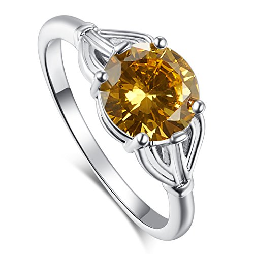 Narica Womens Brilliant Simple 8mm Round Cut Citrine CZ Engagement Ring ()