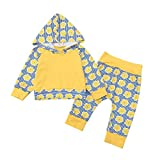 Baby Autumn Casual Sets,Jchen(TM) Newborn Baby Boys Girls Floral Striped Print Hooded Tops+Pants Set Clothes for 0-24 Months (Age: 12-18 Months)