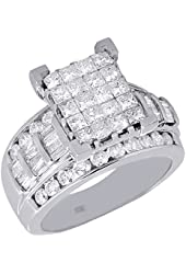 10K White Gold Princess, Round, & Baguette Cut Diamond Rectangle Engagement Ring 2.01 Cttw