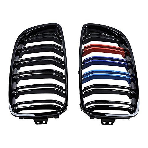 AMOPA Front Kidney Grille Dual Slat M4 Look Style for BMW 2014-2017 BMW F32 F33 F36 F82 F83 F80 M3 (Glossy Black M- Color)