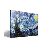 """Cuadrosfamosos.es - Quadro su tela con telaio raffigurante la """"Notte stellata"""" di Vincent Willem van Gogh, immagine ad alta risoluzione stampata su tela in puro cotone, con telaio in legno da 3x 3cm, riproduzione digitale di un'opera d'arte di qualità superiore, prodotta in Spagna."""
