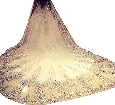 Fenghuavip 1T 3 Meters Ivory Wedding Veils for Bride with Crystals