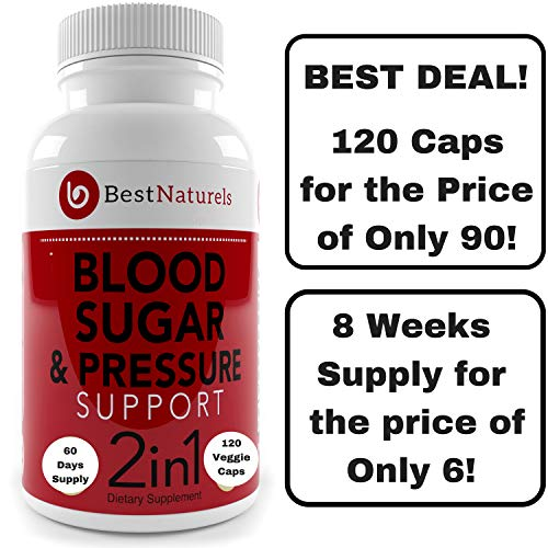 2-in-1 Blood Pressure + Blood Sugar Support Supplement - Promotes Healthy Blood Pressure -Glucose + Cholesterol - Organic Blend of Turmeric Cinnamon Moringa Alpha Lipoic Acid