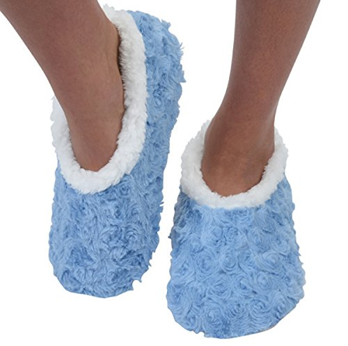 Snoozies Womens Bed Of Roses Cozy Sherpa Fleece Non Skid Slipper Socks - Sky Blue, Large