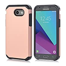 Galaxy J3 Emerge Case, Asster Hybrid Dual Layer [Slim Fit] Shock Absorption Impact Resist Smooth Hard Cover with TPU Skin Cover Case For Samsung Galaxy J3 Emerge / Galaxy J3 (2017) (Rose gold)