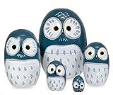Happy Sales HSMD5/BL Wood Nesting Owl Doll, Blue