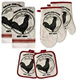 rooster pots - American Mills Kitchen Towel Set 6 Piece Rooster Towels Pot Holders Oven Mitt