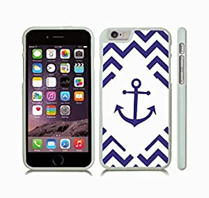 iStar Cases? iPhone 6 Case with Chevron Pattern Stripe Dark Blue/ White Diamond Shape Anchor Black , Snap-on Cover, Hard Carrying Case (White)