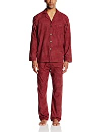 Men's Woven Plain-Weave Pajama Set, Red Plaid