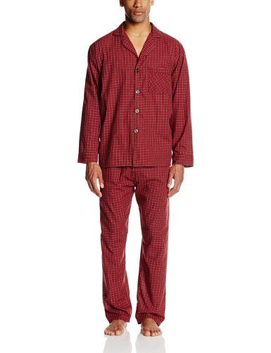 Hanes Men's Woven Plain-Weave Pajama Set, Red Plaid, Medium