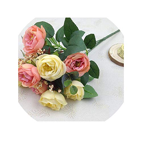 Silk Rose Peony Artificial Flowers Beautiful Bouquet for