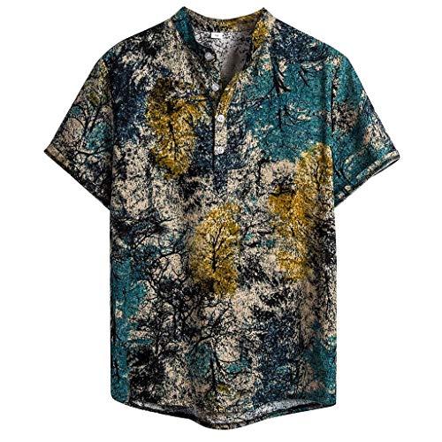 c Short Sleeve Casual Cotton Linen Printing Hawaiian Shirt Blouse Beach Party T Shirt(Green,XL) ()