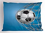 Ambesonne Soccer Pillow Sham, Goal Football in Net Entertainment Playing for Winning Active Lifestyle, Decorative Standard Queen Size Printed Pillowcase, 30 X 20 inches, Blue Pale Grey Black