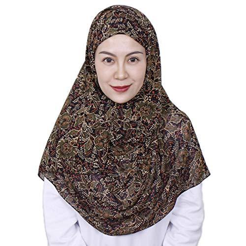 LMVERNA Chiffon Printe Headscarf Muslim Flower Hijab Scarfs For Women Lightweight Long Scarf Wrap(Black-flower)