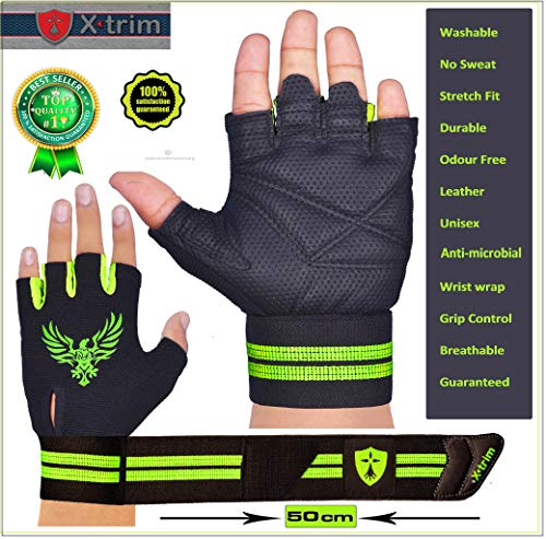 Xtrim Pro Firm ( M / L / XL / XXL ) Professional Wrist Wrap Gym – Grey colour – Washable Real Leather, Durable, Double Stitched, 4-way Stretch Back Mesh, Half Finger Length, No Sweat, Extra Foam Padded, Luxurious Closure. Uses: Weight Lifting, Gym Gloves, Fitness Gloves, Work out Gloves, Palm Protection, Cross Country, Comfort, No Calluses, Grip Strength, Gift For Men. Price & Reviews