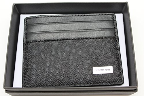 Michael Kors Mens Jet Set Signature Logo Slim Leather Card Case Wallet ()