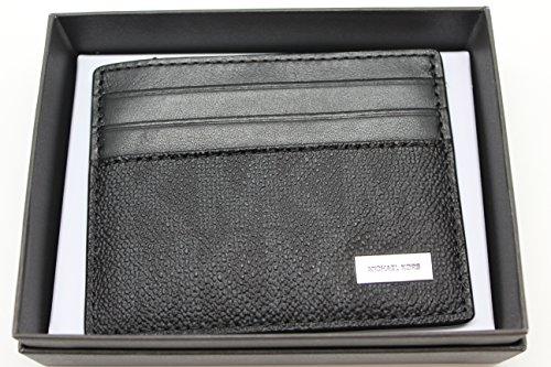 Michael Kors Mens Jet Set Signature Logo Slim Leather Card Case Wallet Black