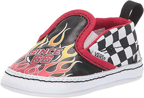 Vans Infant/Toddler Race Flame Slip on V Crib Kids Baby Shoe (4 M US Infant, (Race Flame) Black/True White)