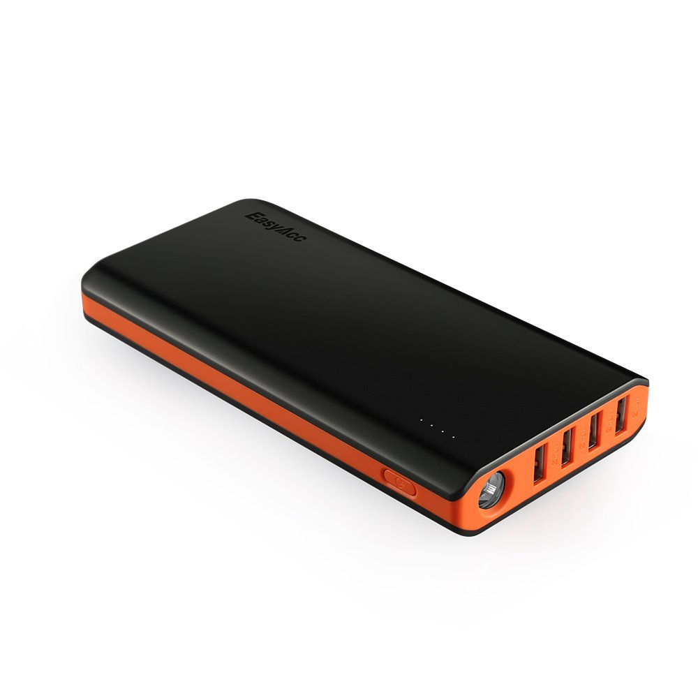 [Fast and Efficient] EasyAcc 26000mAh Power Bank 4 Ports External Battery Charger Portable Charger for Android Phone Samsung HTC Tablets - Black and Orange