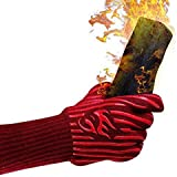 Evridwear 932°F Extreme Heat and Cut Resistant BBQ Gloves Oven Mitts, Non-Slip Silicone Coated Pot Holders for Cooking, Baking, Grilling, Camping, Fireplace and Microwave (Extended Cuff, Red)