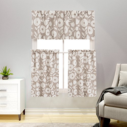 3 Pieces Kitchen Curtains and Valances Set Floral Printed Tier Curtains Linen Textured Vintage Printed Cafe Curtains(36 Inches Long, Taupe and White)