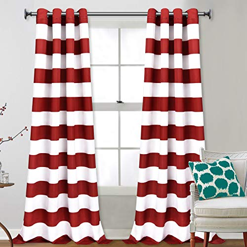 Yastouay Stripe Window Curtain Striped Room Darkening Grommet Curtains 52 × 84 Inches Stripes Drapes for Bedroom Living Room, Red, Set of 2 Panels (Red Curtains Striped Sale)