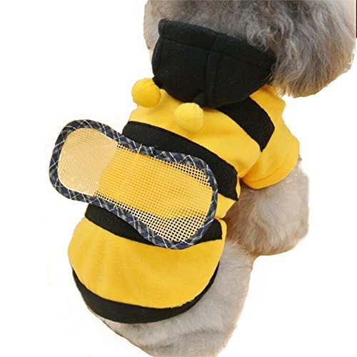 NACOCO Dog Bee Costume Pet Cute Coat Puppy Clothes Cat Bumblebee Apparel with Hoodies for Small and Medium Dog (XS)