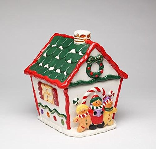 9 Inch Red, White and Green Gingerbread House Cookie Jar Decoration